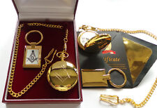 More details for masonic freemason 24k gold luxury hunter pocket watch & keyring gift set case
