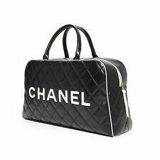 Chanel Logo Letters Vintage Quilted Duffel Bag Travel Tote
