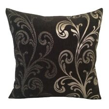 Chenille Solid/Dot Leaves 18x18 Black Decorative/Throw Pillow Case/Cushion Cover