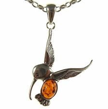 BALTIC AMBER STERLING SILVER 925 HUMMINGBIRD PENDANT NECKLACE CHAIN JEWELLERY