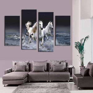 CHPT16 hand paint 4pcs Modern runing animal horse in sea Oil Painting Art canvas