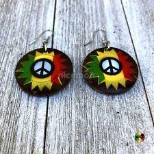 Peace Sign Earrings Earring Rastafari Jamaica Hawaii Love Reggae Jamaica IRIE