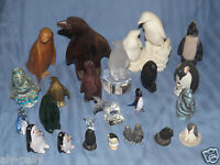 penguin ornaments various glass wood crystal brass jade coral pottery pewter etc