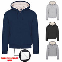 Men's Faux Fur Fleece Lined Hooded Sweatshirt Warm Zip Fleece Top Jacket Hoodie
