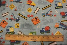 Construction Utility Vehicles  Road Signs Allover Blue Cotton Flannel Fabric BTY