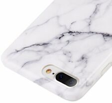 for iPhone 8+ PLUS - Hard TPU Gummy Rubber Case Cover White Marble Stone Pattern