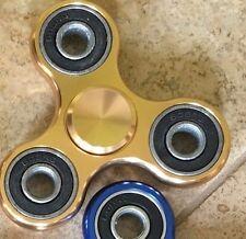 Gold Aluminum Alloy Tri Hand Fidget Spinner Focus Office Desk Finger Toy ADHD AS