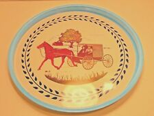 "Amish Pennsylvania Dutch Tray horse and buggy 13"" TIN SERVING TRAY"