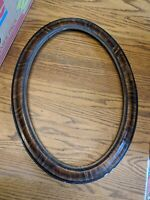 ANTIQUE LARGE FAUX TIGER WOOD OVAL PICTURE FRAME VTG 19X13 VICTORIAN OLD VTG