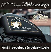 COPPIA ADESIVI RIGHINI BORDATURA + LOGO X SERBATOIO MOTO CUSTOM HARLEY DAVIDSON