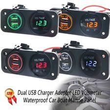 12V Dual USB Charger Adapter Blue LED Voltmeter Waterproof Car Boat Marine Panel
