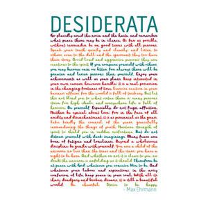 Desiderata Rainbow Words Ehrmann Typography Wall Art Print