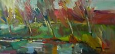 JOSE TRUJILLO OIL PAINTING IMPRESSIONISM RIVER EDGE TREES ABSTRACT EXPRESSIONISM