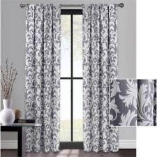 Mainstays Deco Scroll Room Darkening Curtain 84L GRAY PANEL NEW