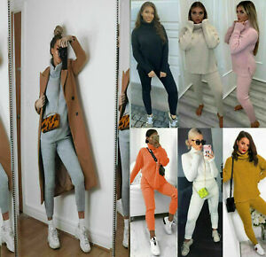 Womens Chunky Knitted Loungewear Ladies Polo High Neck Top Leggings Suit Set UK