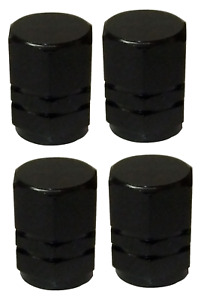 Black Hexagonal High Quality Metal Metallic Dust Caps Pack of 4 Caps