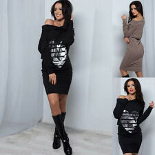 HOT Stylish Women Winter Long Sleeve Love Heart Printing Bodycon Strapless Dress