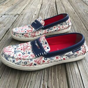 Cole Haan Grand OS Nautical Sailboat Canvas Penny Loafers Boat Shoes Men's 9.5 M