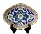 Antique Chinese Porcelain Tongzhi Altar Bowl Blue Ground White Flowers 19th Qing