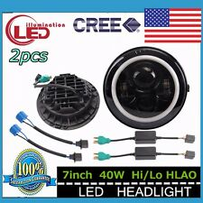 Pair 7Inch 40W Round LED Headlights Halo Angle Eyes DRL Jeep Wrangler JK 97-2015