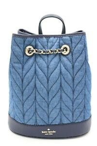 NWT Kate Spade New York Briar Lane Quilted Denim Blue Bucket Backpack Bag New