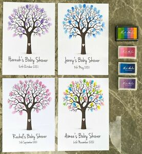 Baby Shower Fingerprint Tree - Guest Book Game Decoration Personalised Mummy