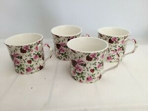 Abbeydale Fine China Tea / Coffee Mugs Set of 4 Floral Roses Pattern unboxed