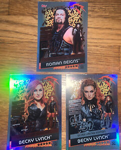 Topps WWE Slam Attax Reloaded 3 Limited Editions Becky Lynch S/B Roman Reigns B