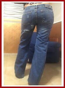 Jeans da donna vita bassa 44 ragazza pantaloni strappati strappi cotone casual
