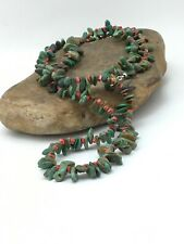 "Native American Navajo GREEN Turquoise Spiny Sterling Silver Necklace 34"" 4738"