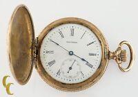 Gold Filled Waltham Antique Full Hunter Pocket Watch Gr Seaside 6S 7 Jewel