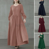 ZANZEA Women Long Sleeve A-Line Flare Swing Casual Loose Kaftan Tunic Maxi Dress