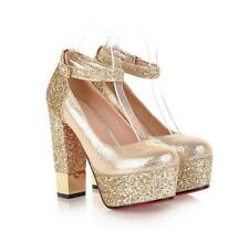 Women Glitter Sequins Buckle Strap Block High Heels Platform Dress Wedding Shoes