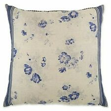 "Bee & Willow 20"" Vintage Floral Stripe Square Decorative Pillow Shabby Chic Blue"