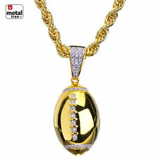 Men's 14K Gold Plated Diamond Football Pendant Rope Chain Necklace BCHR 15109 G
