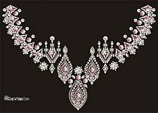 Hotfix Bügelbild Ornament Pink Paerl AB Dome Ausschnitt