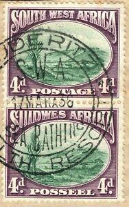 SOUTH WEST AFRICA 4d Bogenfels Pair Luderitz 1936 *BATHING* CDS Used BLBLUE45