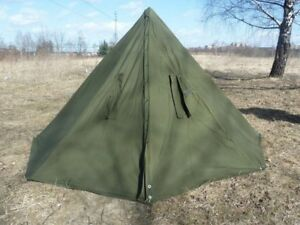 Two Military Polish lavvu ponchos Size 2 Green Teepeee Tent, Can used in winter