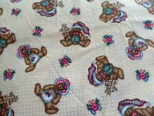 1 5/8 yd cotton print Christmas teddy on yellow background