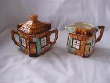 Vintage Keele St. Pottery KSP Sugar & Creamer Cottageware Thatched Hand Painted