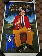1996 New Orleans Jazz Fest Poster George Rodrigue Blue Dog Signed 6427/10000