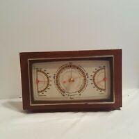Vintage Taylor Barometer Mid Century Modern Mahogany Desk Temperature Humidity