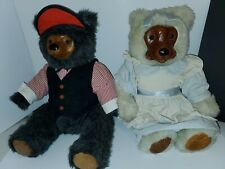 Vintage Raikes Bears Max & Emily Wood Faces