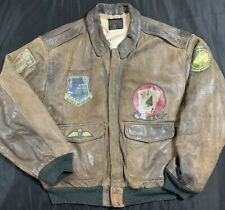 bfc698b3ca5 VTG 80s Avirex Type A-2 Flight Bomber Jacket Men s SZ XL DISTRESSED Huge  Patches