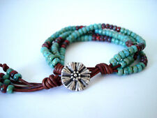 Turquoise & Red Picasso Southwestern Handmade 4 Strand Leather Wrap Bracelet