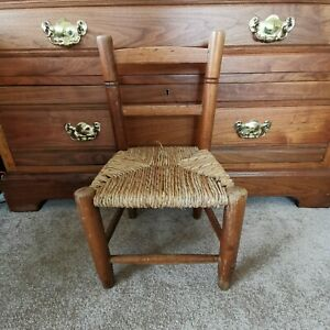 Vintage Childs Childrens Solid Wooden chair with woven seat doll display