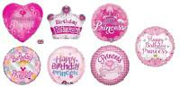 Princess Happy Birthday Foil Balloons Girl Partyware Decorations Banner Pink