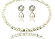 Wedding Jewelry Jewellery Set Cream Pearl & Crystal Necklace Studs Earrings S373