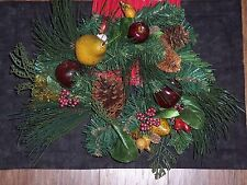 """Holiday Candle ring,6"""",Christmas fruits,nuts & berries,mixed pine greens,wreath"""