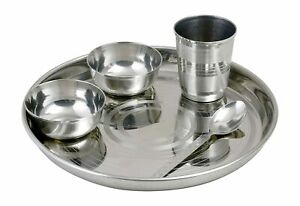Stainless Steel Round Lunch Traditional Dinner Plates Thali Bowl Spoon Glass Set